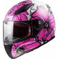 CASCO MOTO INTEGRALE LS2 FF353 RAPID POPPIES BIANCO E ROSA