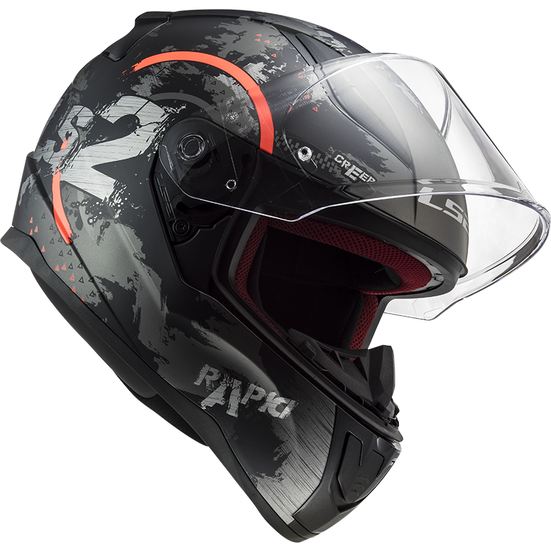 CASCO MOTO INTEGRALE LS2 FF353 RAPID CIRCLE MATT TITANIUM FLUO ORANGE