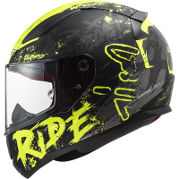 CASCO MOTO INTEGRALE LS2 FF353 RAPID NAUGHTY MATT BLACK H-V YELLOW