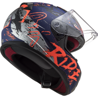 CASCO MOTO INTEGRALE LS2 FF353 RAPID NAUGHTY MATT BLUE FLUO ORANGE